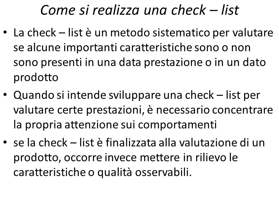 Come si realizza una check – list