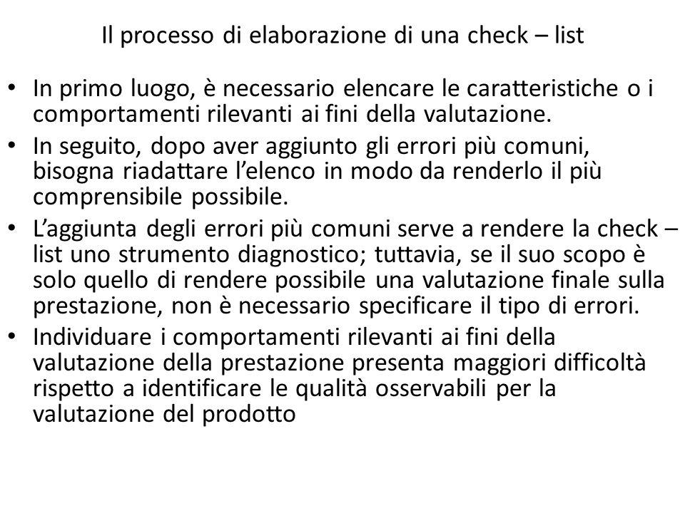 Il processo di elaborazione di una check – list