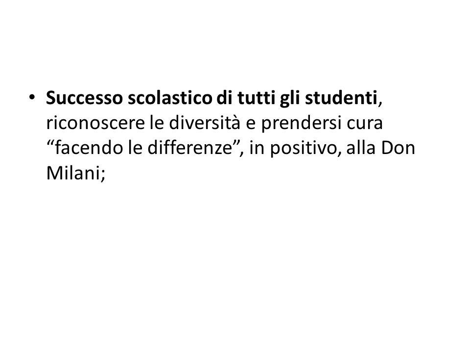 Successo scolastico di tutti gli studenti, riconoscere le diversità e prendersi cura facendo le differenze , in positivo, alla Don Milani;