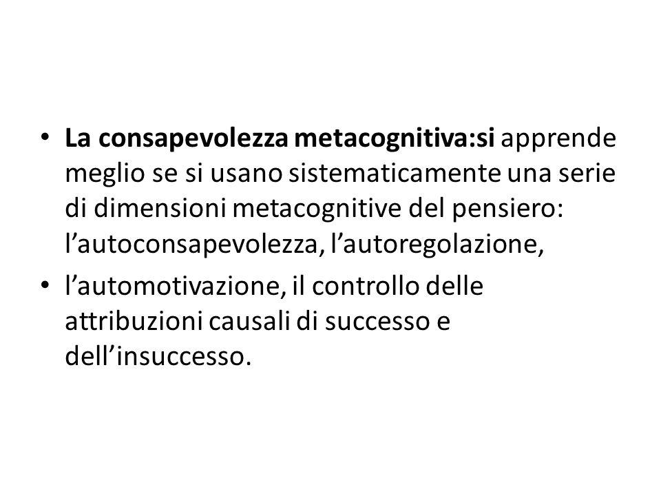 La consapevolezza metacognitiva:si apprende meglio se si usano sistematicamente una serie di dimensioni metacognitive del pensiero: l'autoconsapevolezza, l'autoregolazione,
