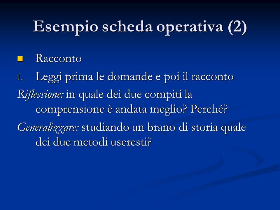 Esempio scheda operativa (2)