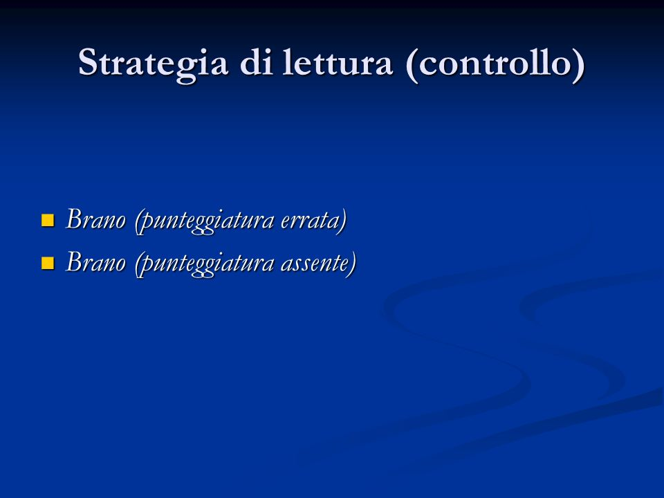 Strategia di lettura (controllo)