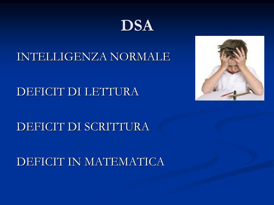 DSA INTELLIGENZA NORMALE DEFICIT DI LETTURA DEFICIT DI SCRITTURA