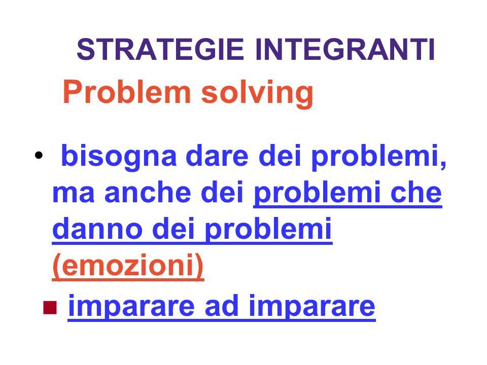 STRATEGIE INTEGRANTIProblem solving. bisogna dare dei problemi, ma anche dei problemi che danno dei problemi (emozioni)