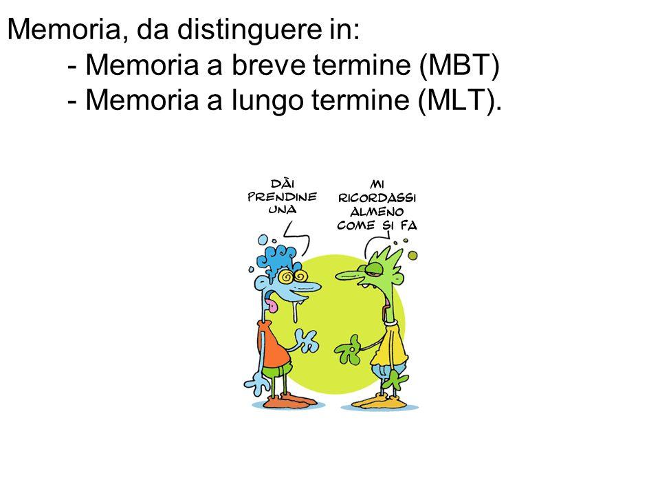 Memoria, da distinguere in: - Memoria a breve termine (MBT) - Memoria a lungo termine (MLT).