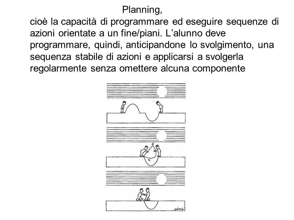 Planning, cioè la capacità di programmare ed eseguire sequenze di azioni orientate a un fine/piani.