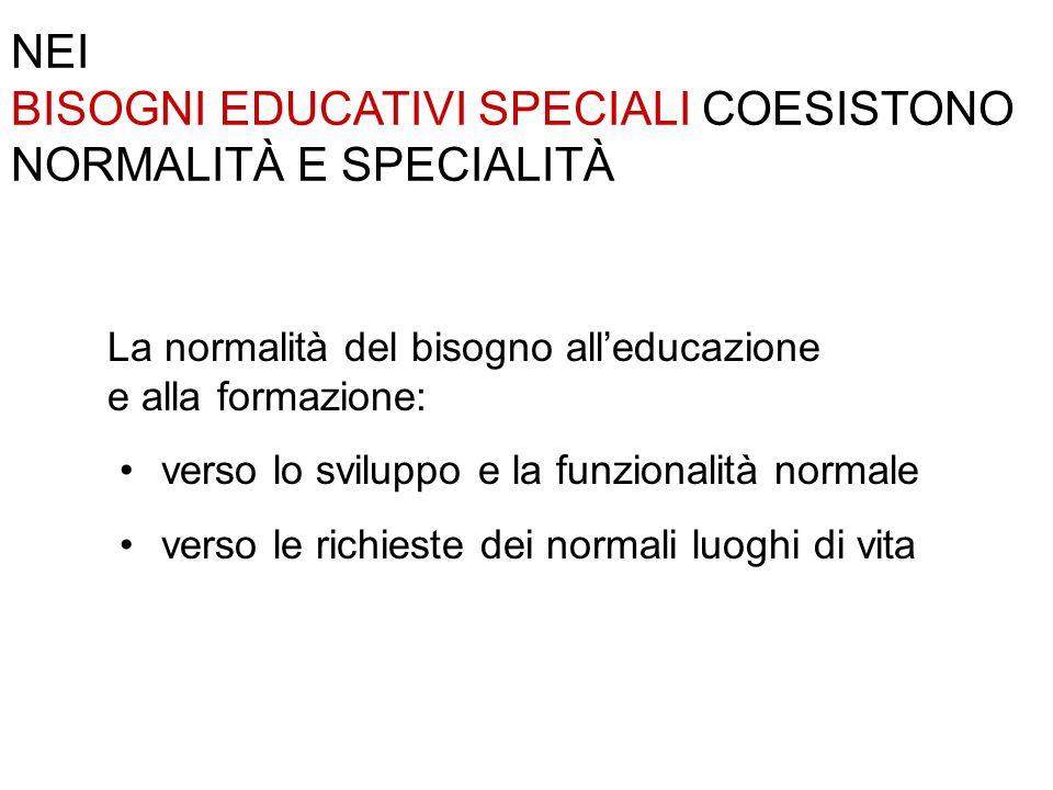 BISOGNI EDUCATIVI SPECIALI COESISTONO NORMALITÀ E SPECIALITÀ