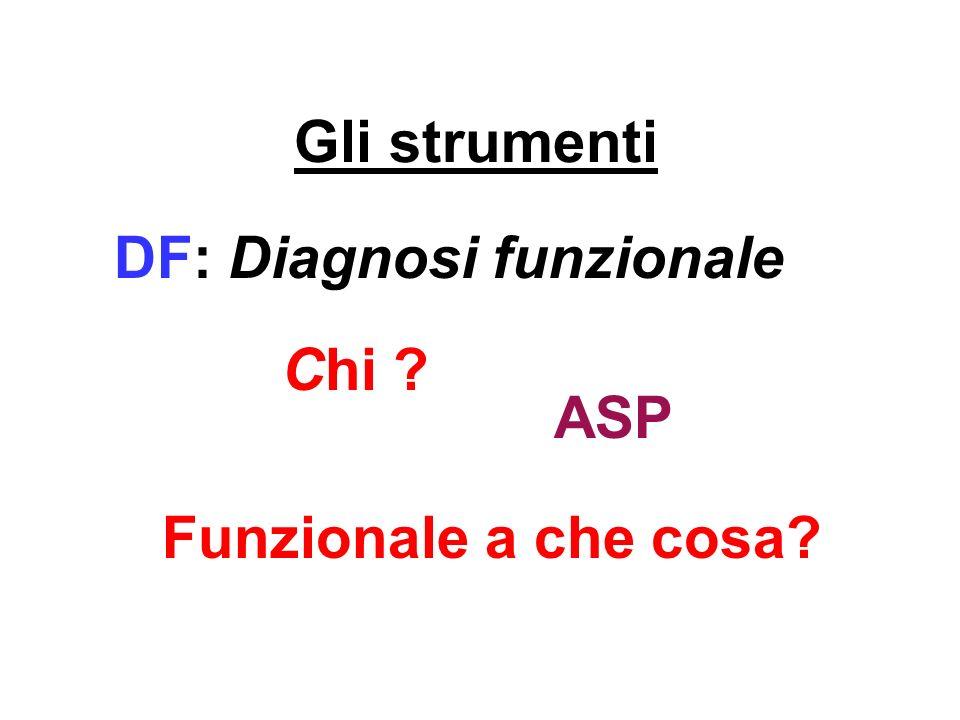 Gli strumenti DF: Diagnosi funzionale Chi ASP Funzionale a che cosa