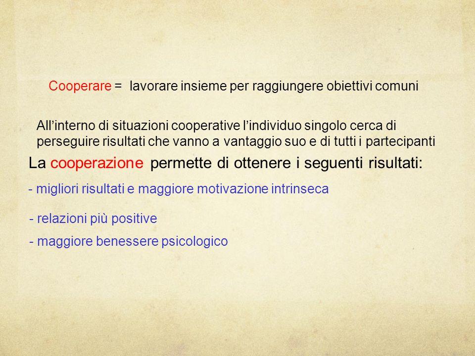 La cooperazione permette di ottenere i seguenti risultati: