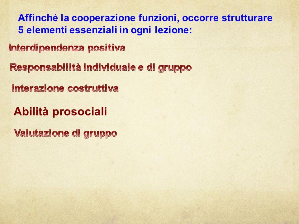 Affinché la cooperazione funzioni, occorre strutturare