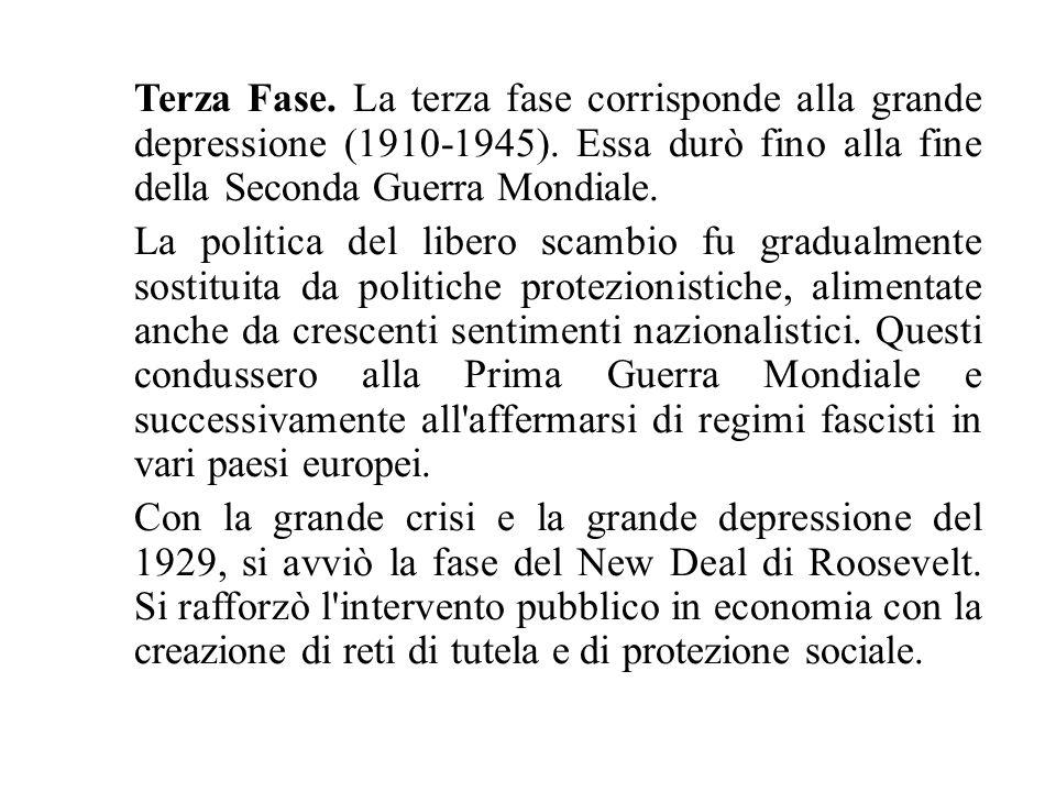 Terza Fase. La terza fase corrisponde alla grande depressione (1910-1945). Essa durò fino alla fine della Seconda Guerra Mondiale.