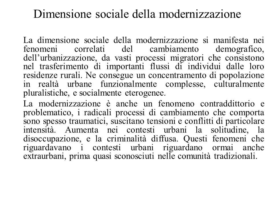 Dimensione sociale della modernizzazione