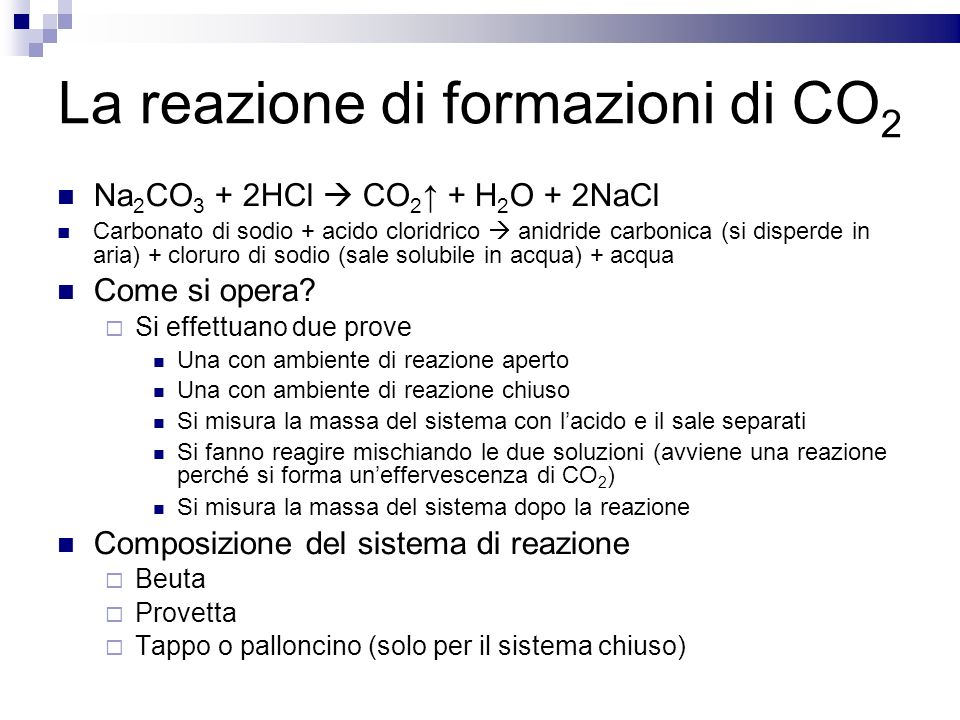 La reazione di formazioni di CO2