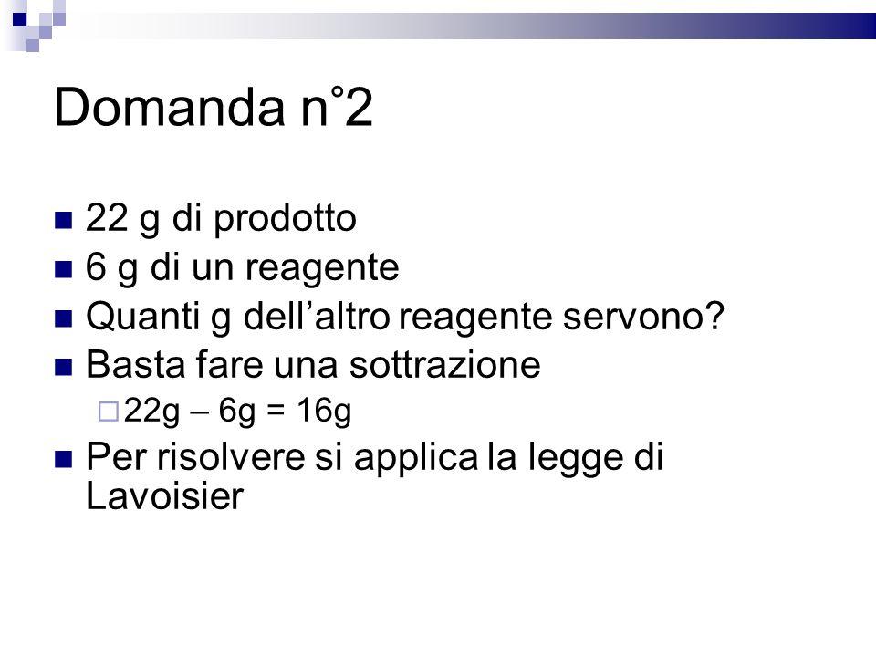 Domanda n°2 22 g di prodotto 6 g di un reagente