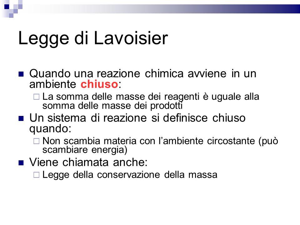 Legge di Lavoisier Quando una reazione chimica avviene in un ambiente chiuso: