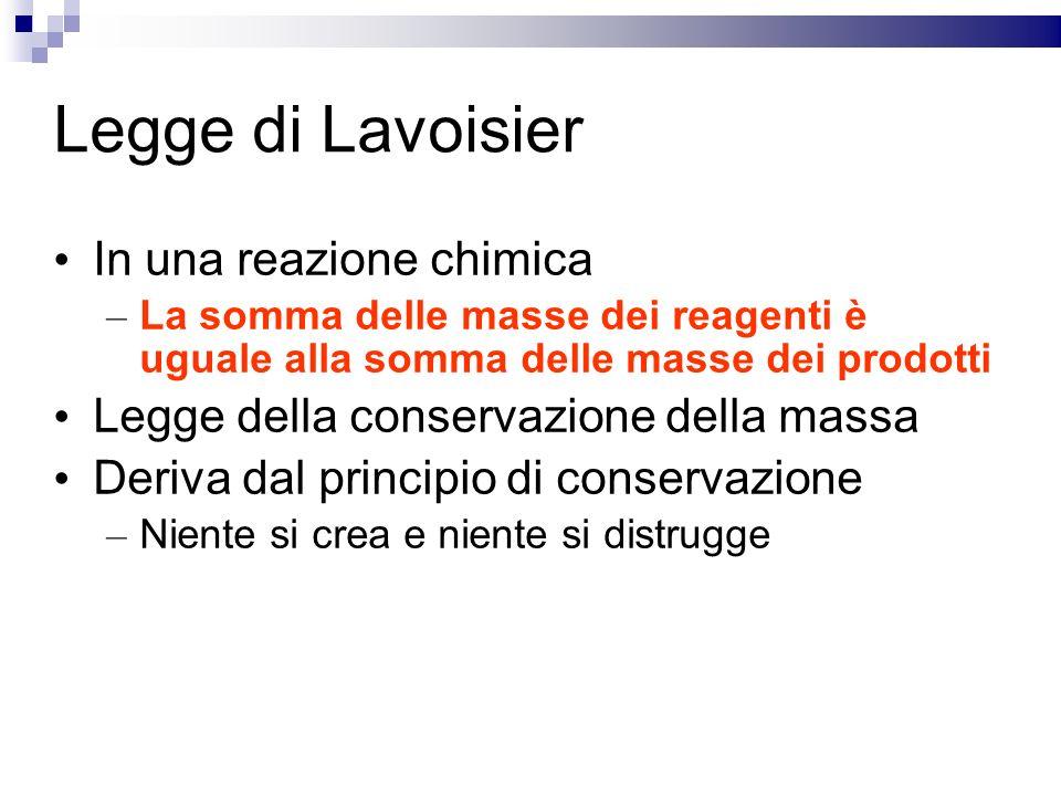 Legge di Lavoisier In una reazione chimica