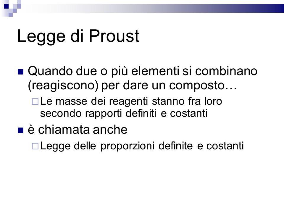 Legge di Proust Quando due o più elementi si combinano (reagiscono) per dare un composto…