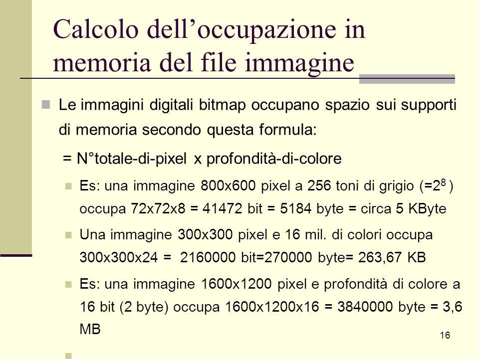 Calcolo dell'occupazione in memoria del file immagine