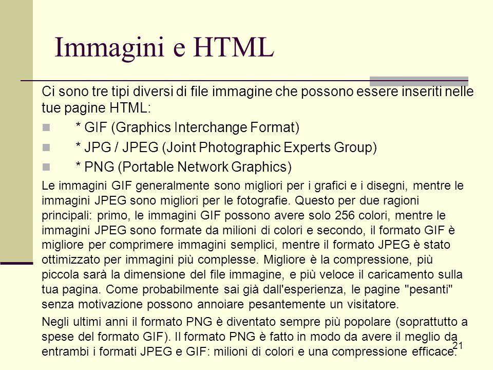 Immagini e HTML Ci sono tre tipi diversi di file immagine che possono essere inseriti nelle tue pagine HTML: