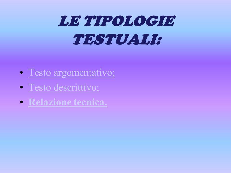 LE TIPOLOGIE TESTUALI: