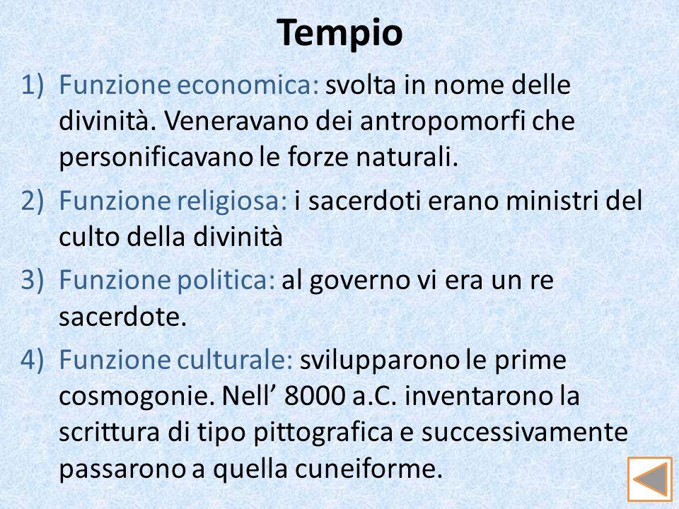Tempio Funzione economica: svolta in nome delle divinità. Veneravano dei antropomorfi che personificavano le forze naturali.