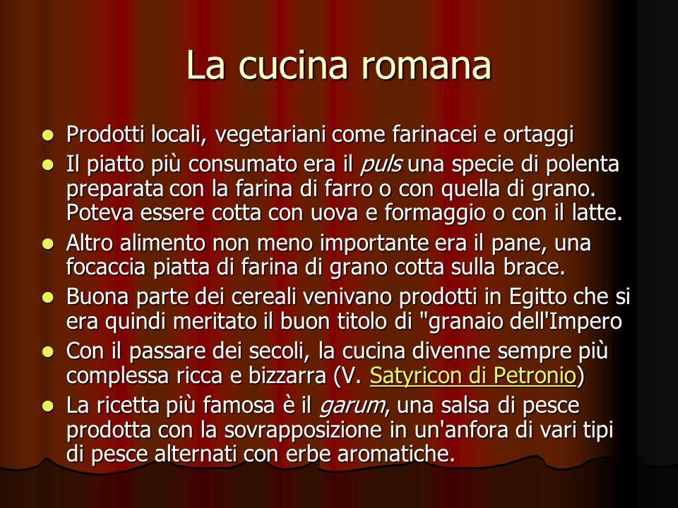 La cucina romana Prodotti locali, vegetariani come farinacei e ortaggi