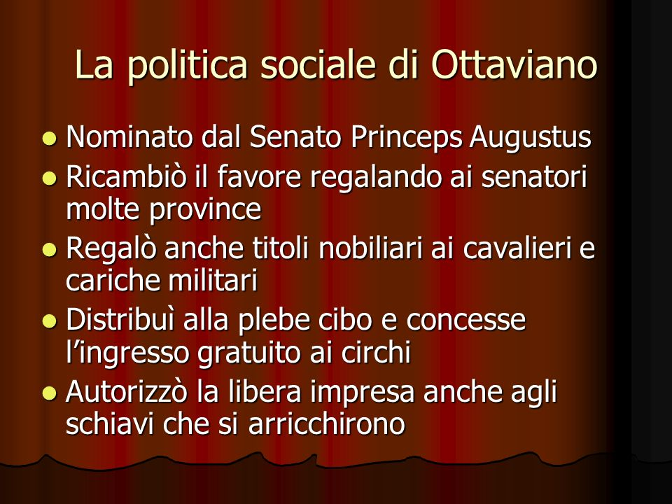 La politica sociale di Ottaviano
