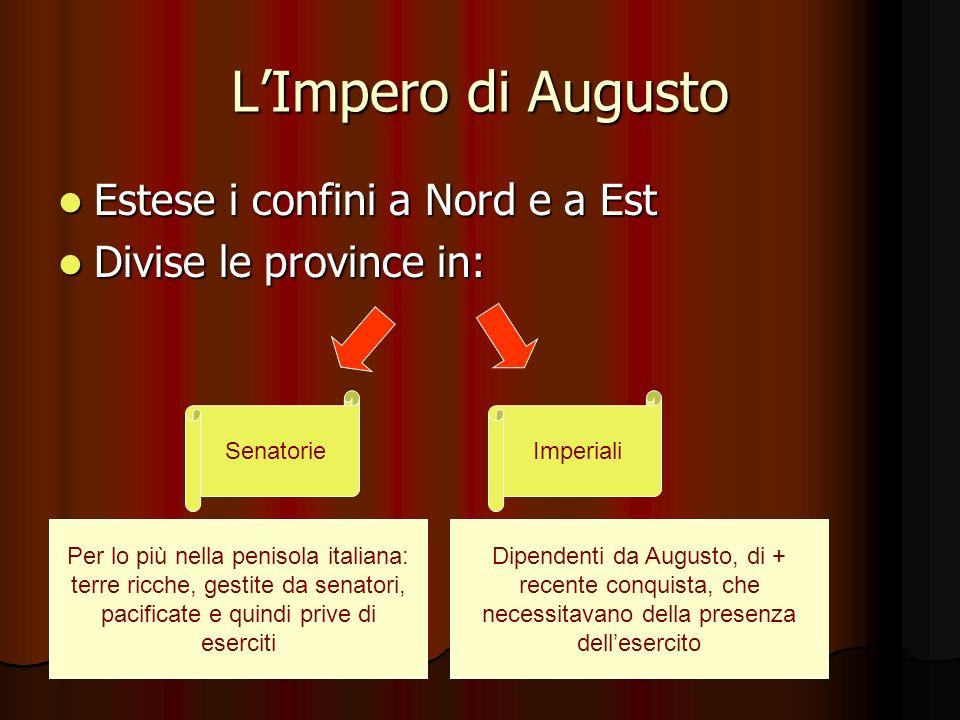 L'Impero di Augusto Estese i confini a Nord e a Est
