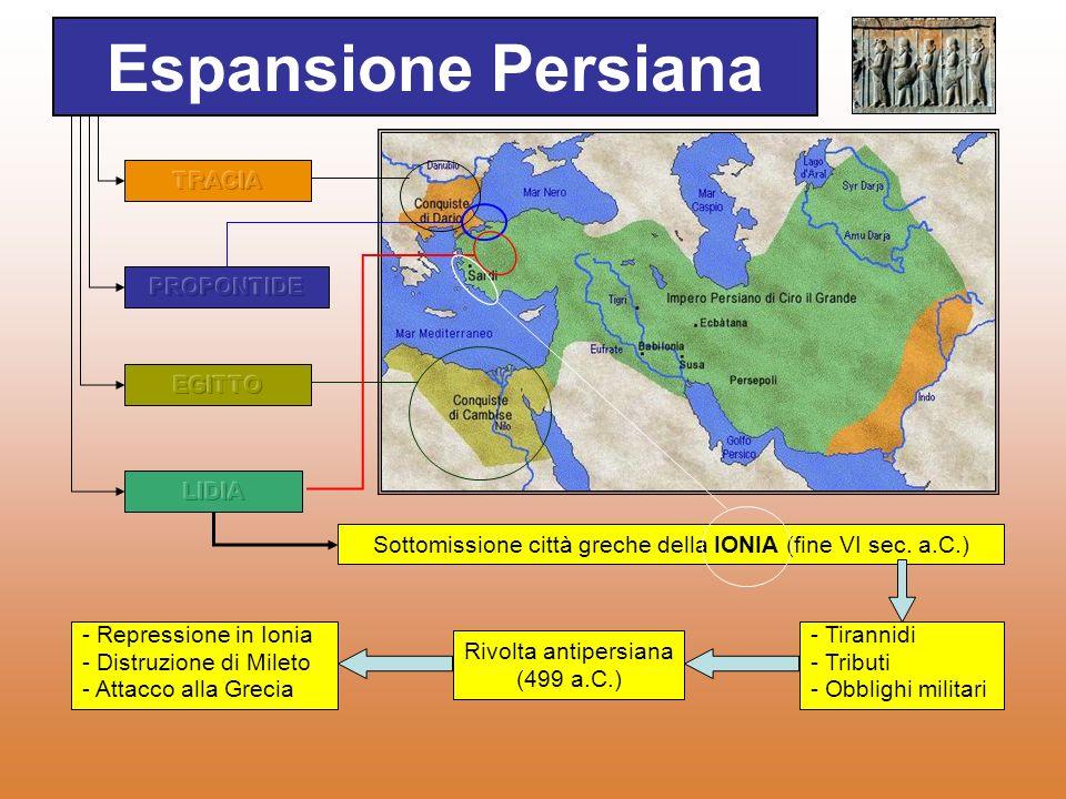 Espansione Persiana TRACIA PROPONTIDE EGITTO LIDIA