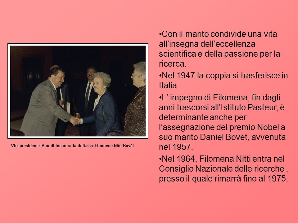 Nel 1947 la coppia si trasferisce in Italia.