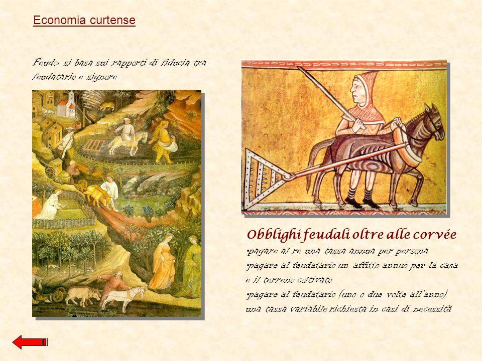 Economia curtense Feudo: si basa sui rapporti di fiducia tra feudatario e signore. Obblighi feudali oltre alle corvée.