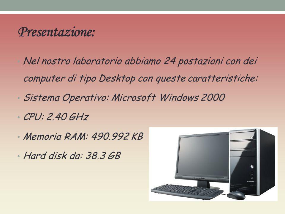Presentazione: Nel nostro laboratorio abbiamo 24 postazioni con dei computer di tipo Desktop con queste caratteristiche: