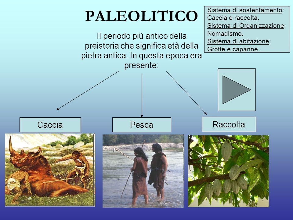 PALEOLITICO Sistema di sostentamento: Caccia e raccolta. Sistema di Organizzazione: Nomadismo. Sistema di abitazione: