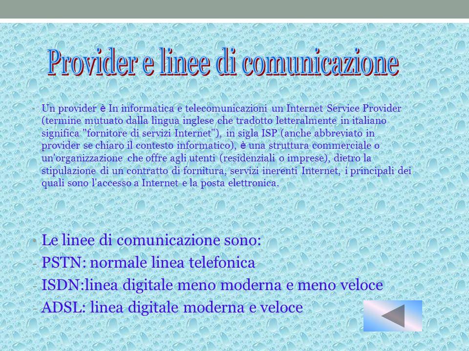Provider e linee di comunicazione