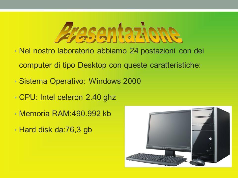Presentazione Nel nostro laboratorio abbiamo 24 postazioni con dei computer di tipo Desktop con queste caratteristiche: