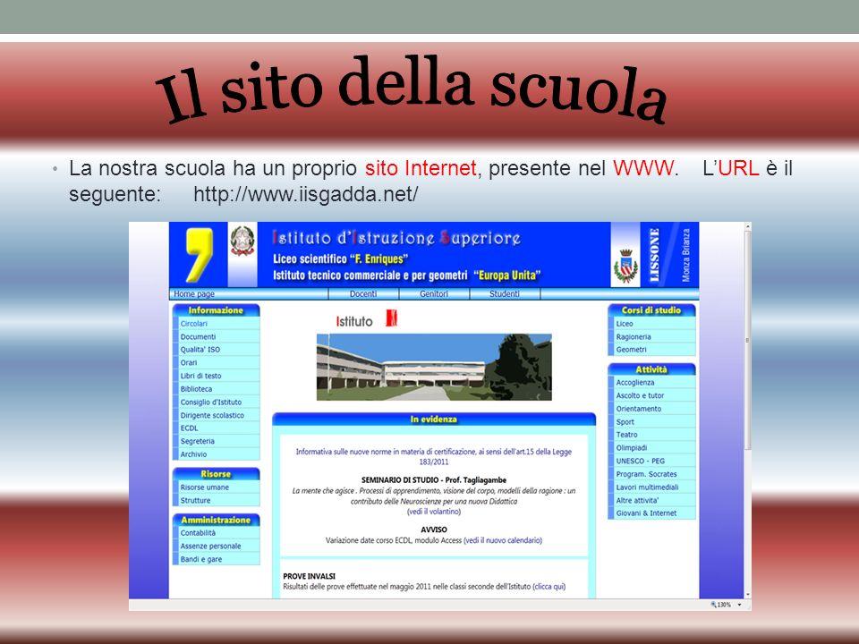 Il sito della scuola La nostra scuola ha un proprio sito Internet, presente nel WWW.