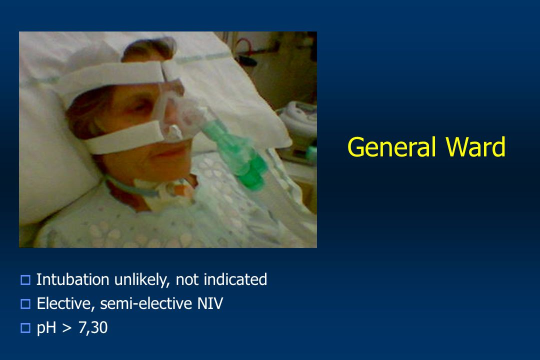 General Ward Intubation unlikely, not indicated