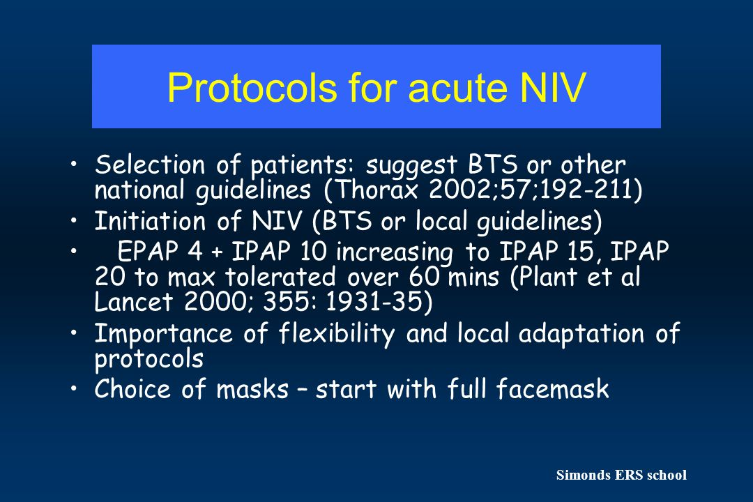 Protocols for acute NIV