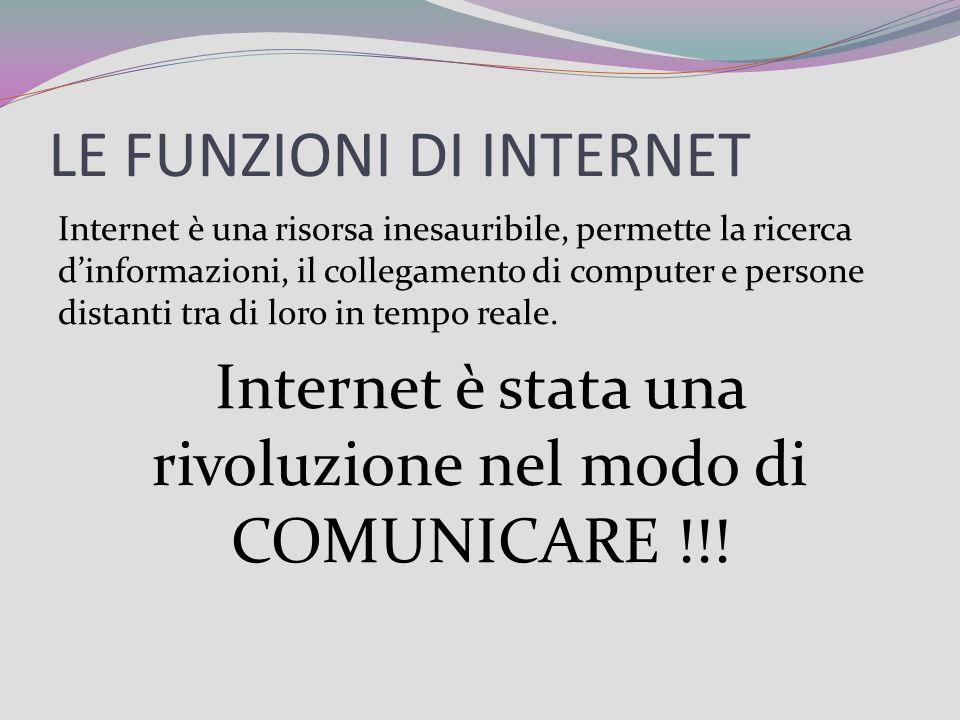 LE FUNZIONI DI INTERNET