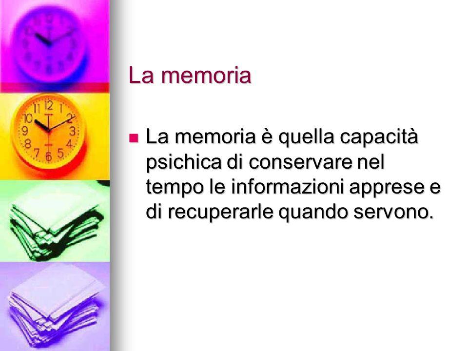 La memoria La memoria è quella capacità psichica di conservare nel tempo le informazioni apprese e di recuperarle quando servono.