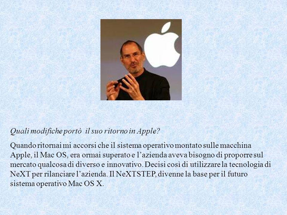 Quali modifiche portò il suo ritorno in Apple