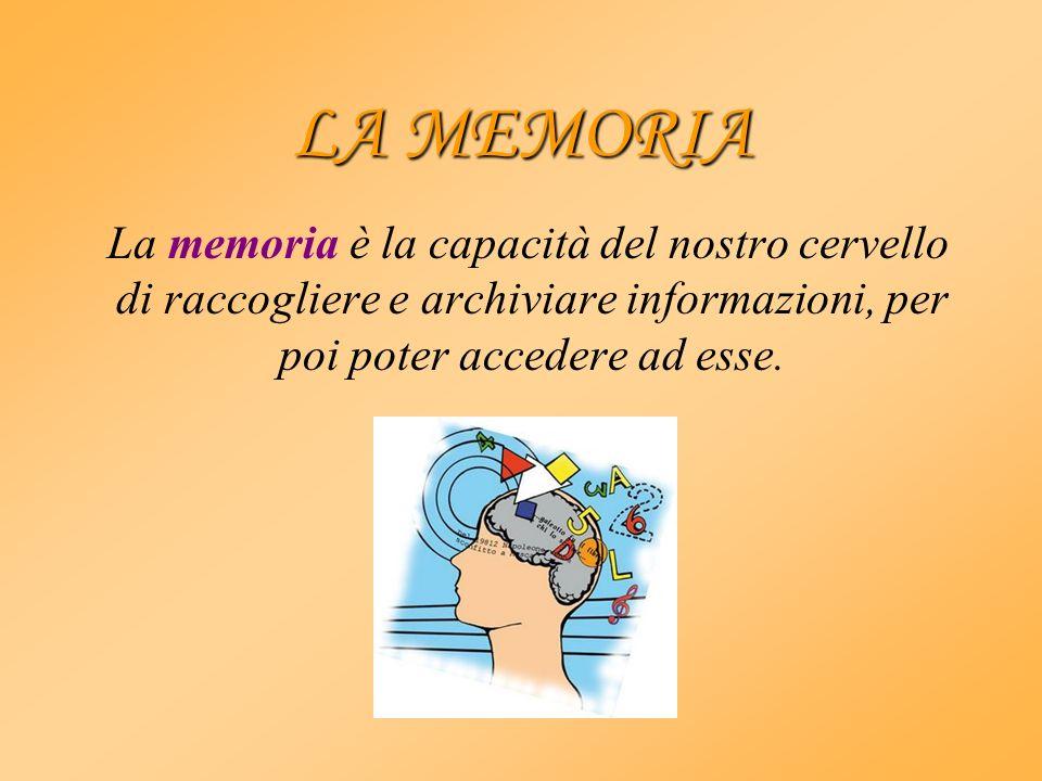 LA MEMORIA La memoria è la capacità del nostro cervello di raccogliere e archiviare informazioni, per poi poter accedere ad esse.
