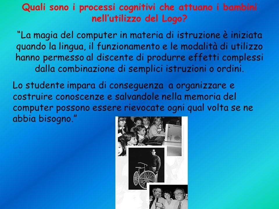 Quali sono i processi cognitivi che attuano i bambini nell'utilizzo del Logo