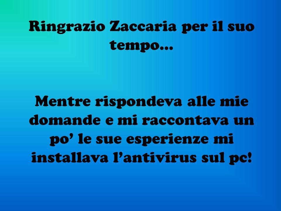Ringrazio Zaccaria per il suo tempo…