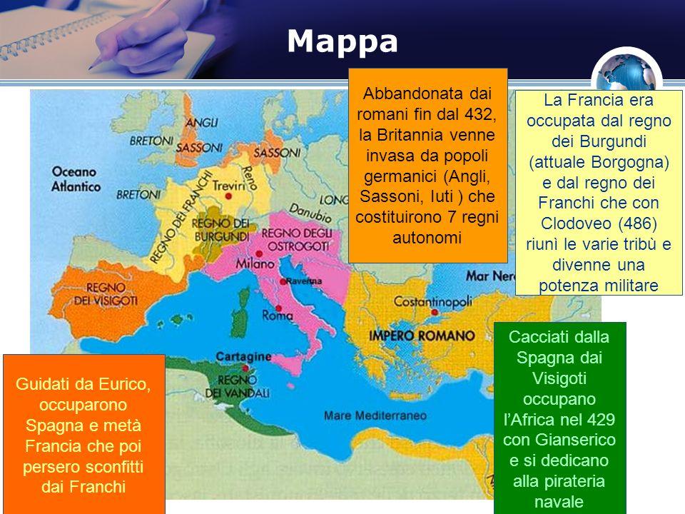 Mappa Abbandonata dai romani fin dal 432, la Britannia venne invasa da popoli germanici (Angli, Sassoni, Iuti ) che costituirono 7 regni autonomi.