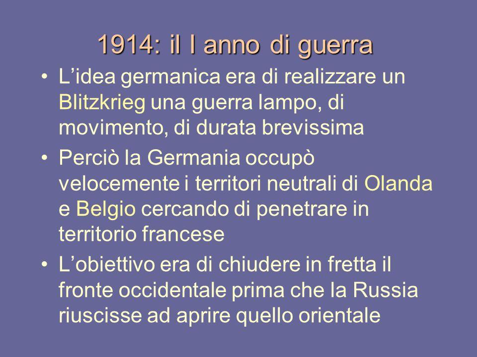 1914: il I anno di guerra L'idea germanica era di realizzare un Blitzkrieg una guerra lampo, di movimento, di durata brevissima.