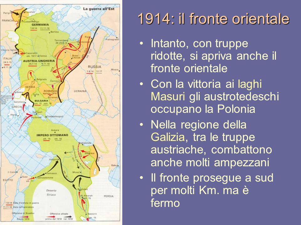 1914: il fronte orientale Intanto, con truppe ridotte, si apriva anche il fronte orientale.