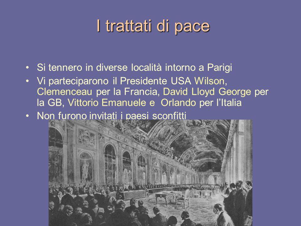I trattati di pace Si tennero in diverse località intorno a Parigi