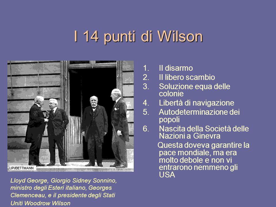 I 14 punti di Wilson Il disarmo Il libero scambio
