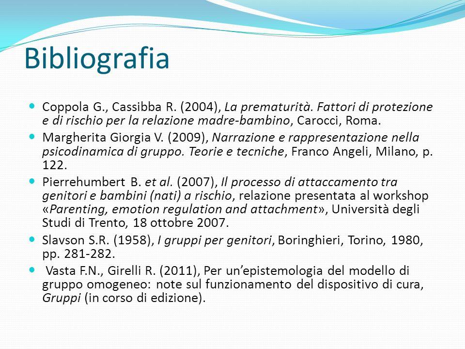 Bibliografia Coppola G., Cassibba R. (2004), La prematurità. Fattori di protezione e di rischio per la relazione madre-bambino, Carocci, Roma.